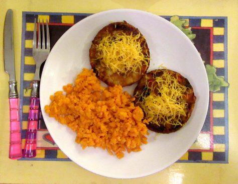 Riced Sweet Potatoes and Veggie Burgers