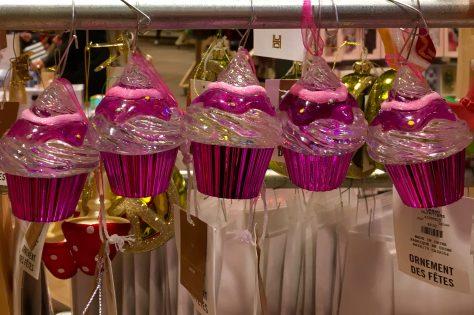Pink Cupcake Christmas Tree Ornaments
