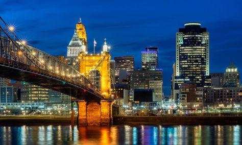 Cincinnati View with Suspension Bridge