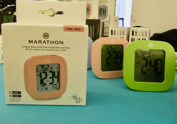 Pink and Green Alarm Clocks
