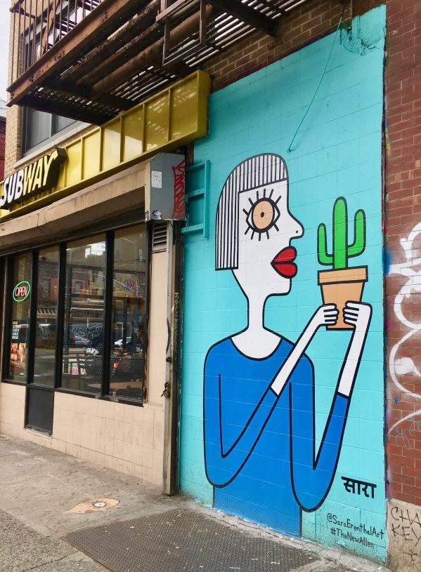 Lady With Cactus Mural