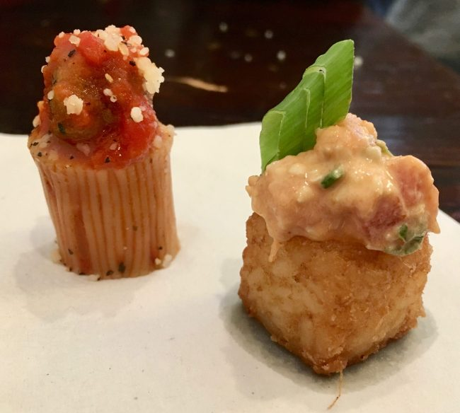 Spaghetti and Meatball Tuna Tartar on a Crispy Rice Cake
