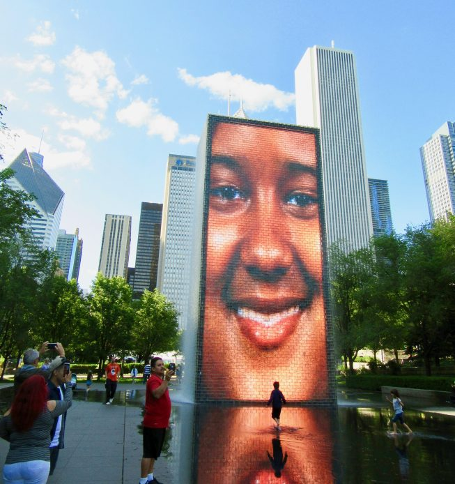 Crown Fountain Smiling