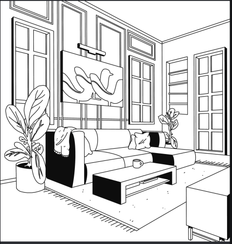 living room coloring book