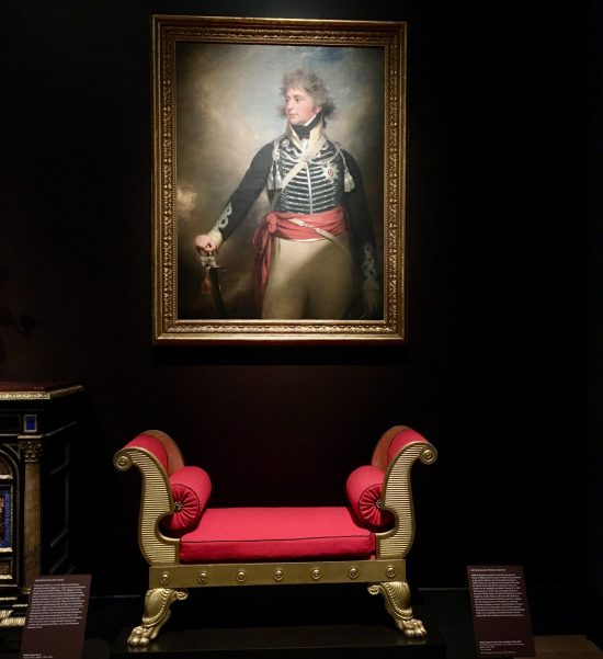 gilded wooden bench by thomas hope installation view photo by gail worley