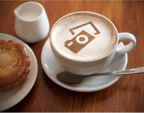 latte with camera foam