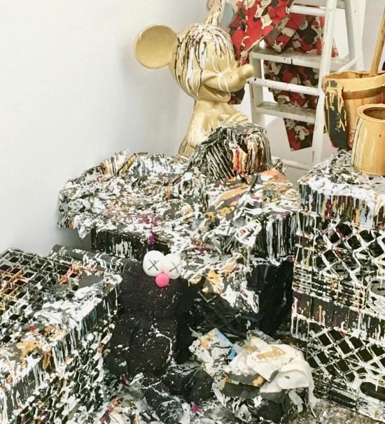 joyce pensato paint splattered studio photo by gail worley