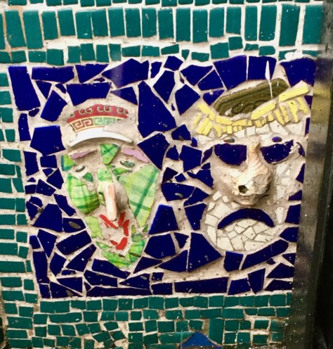 comedy tragedy masks mosaic photo by gail worley
