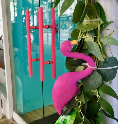 pink flamingo storefront photo by gail worley
