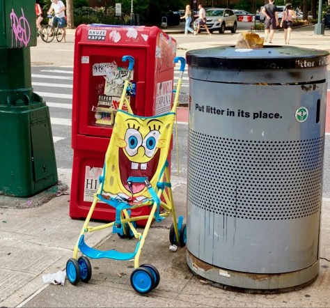 abandoned sponge bob baby stroller photo by gail worley