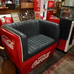 Coca Cola Chairs And Tables Fiddle Back Antique Vintage Cooler Furniture The Worley Gig