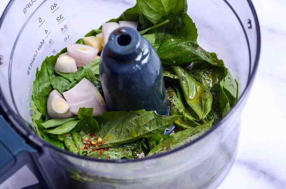 basil vinaigrette in food processor