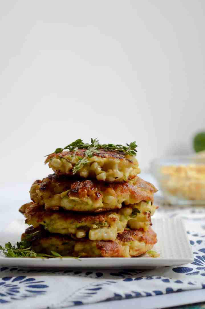 corn and zucchini fritters with thyme