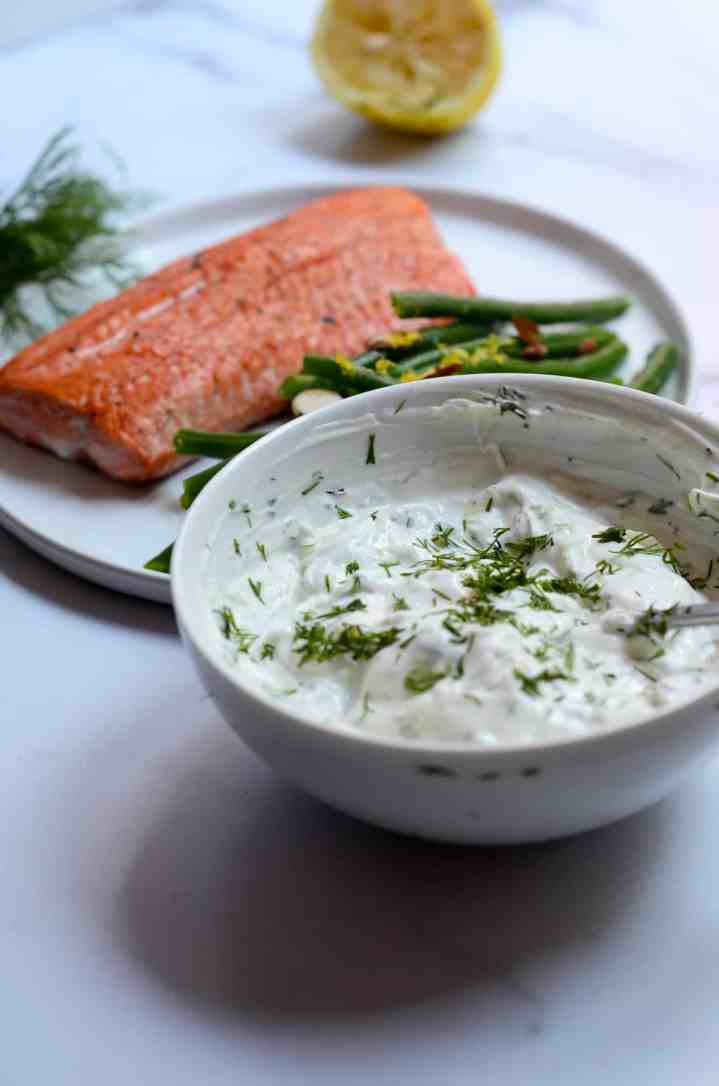 bowl of dill Tzatziki