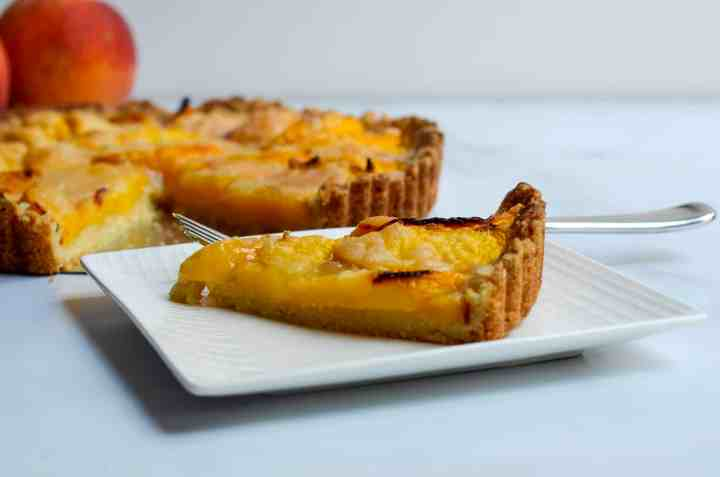 slice of peach tart