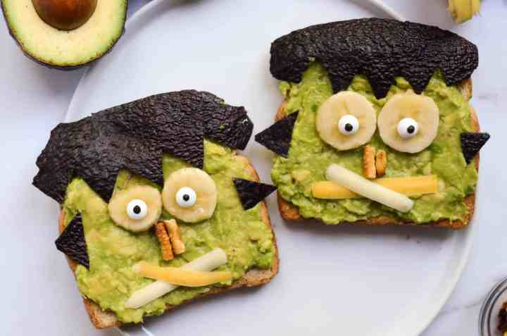 frankenstein avocado toast is so easy and you can use whatever ingredients you have to make the face