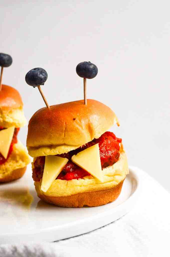 monster meatball slides could be an appetizer or dinner for halloween
