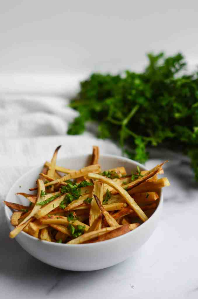 these roasted parsnips look like shoestring french fries and are just as addictive!