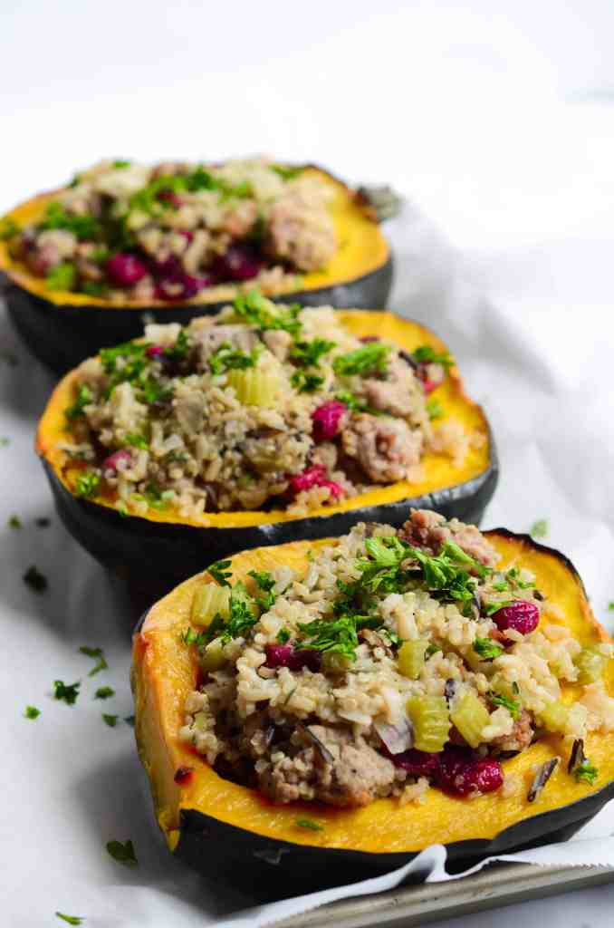 acorn squash has all of the good stuff: sausage, vegetables, wild rice, quinoa, dried cranberries, and fresh herbs.