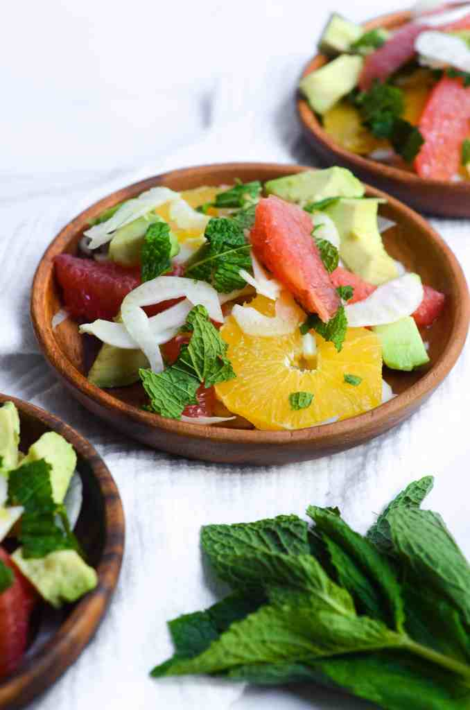 this citrus fennel salad would be great for company because it's beautiful and colorful