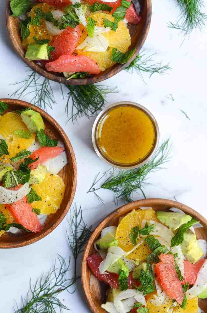 citrus fennel salad with grapefruit vinaigrette