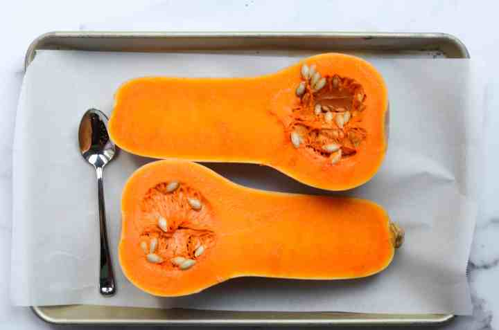 don't forget to scoop out the guts of the butternut squash