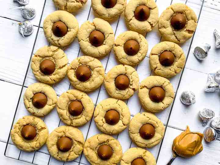 peanut butter blossom cookies are soft and chewy with the right amount of peanut butter and chocolate