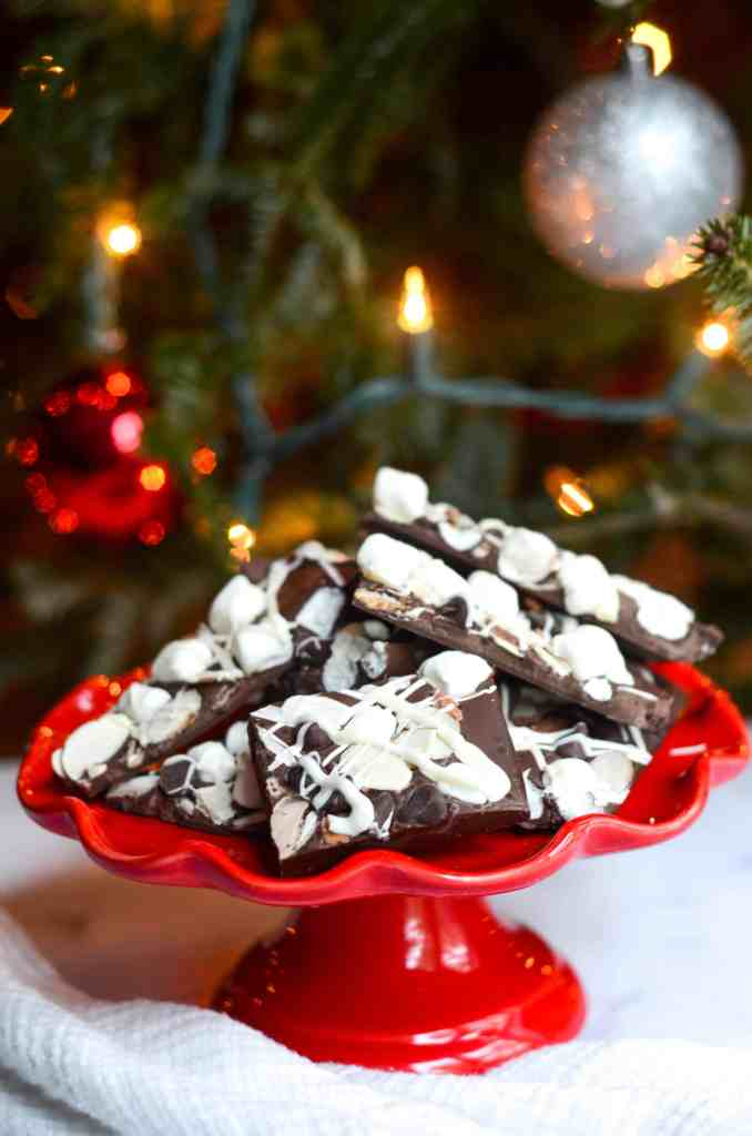 this chocolate bark is the easiest dessert to put on a table if you're entertaining