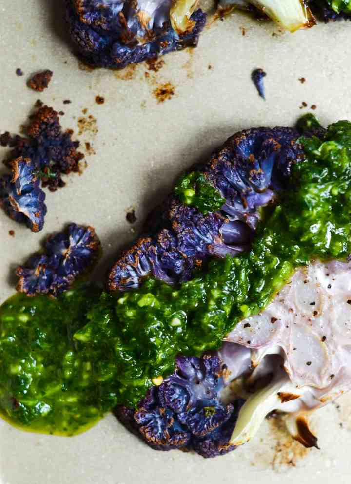 chimichurri thrown on cauliflower really jazzes it up and takes it to the next level.