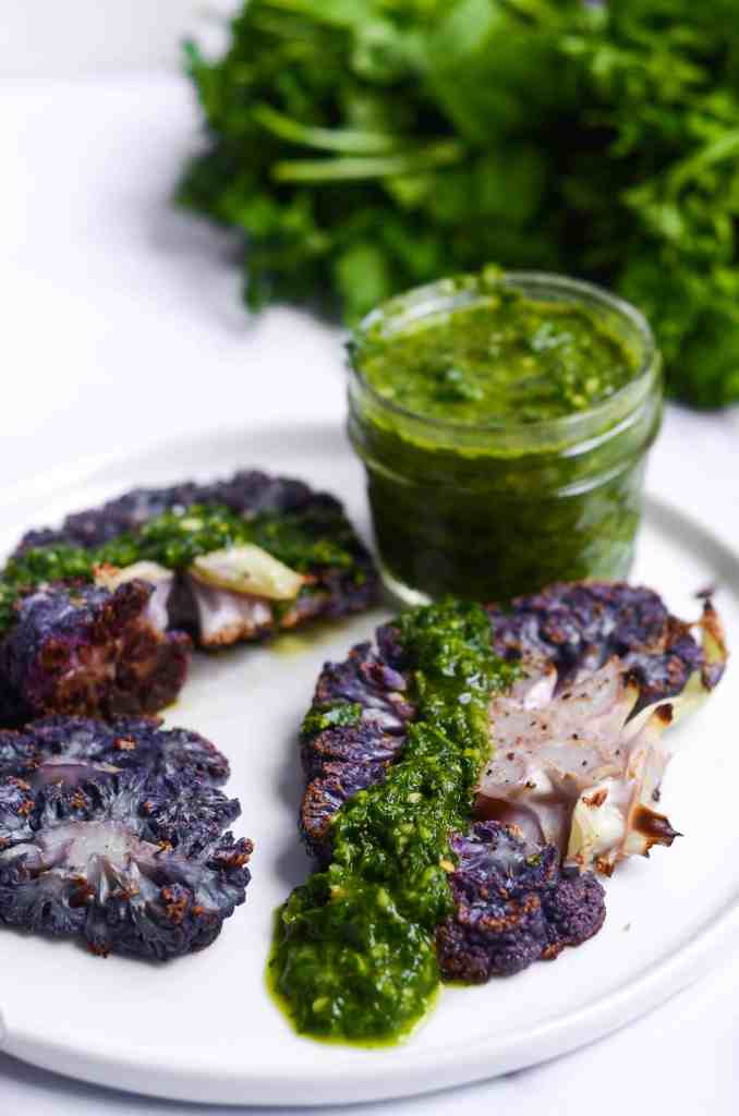 purple cauliflower with chimichurri is gluten free, vegan, and just completely delicious.