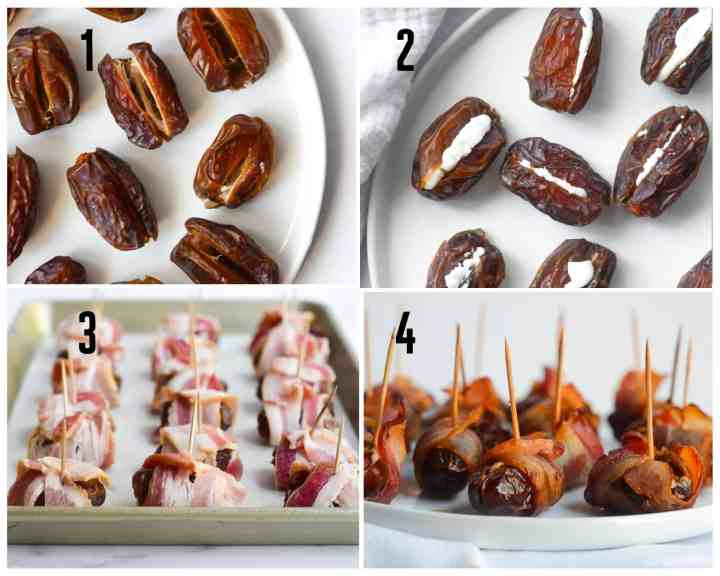 4 images in a square picture (one plate of dates, one with goat cheese stuffed in them, one with bacon wrapping the dates, and last picture is fully cooked dates).