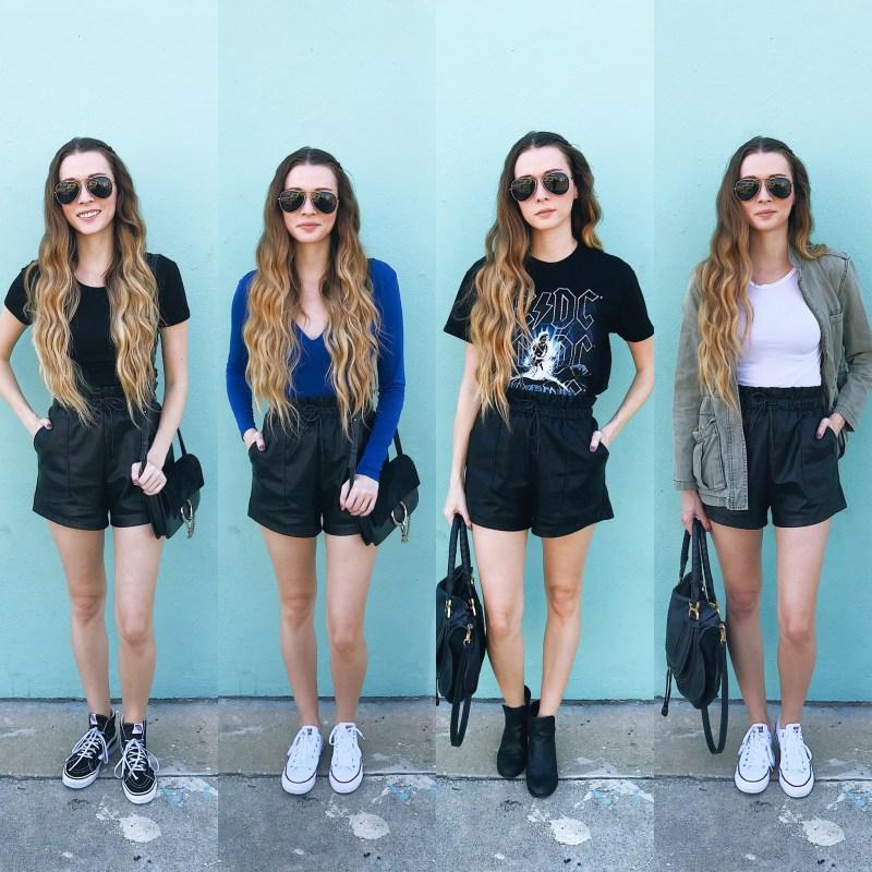 4 WAYS- Faux Leather Shorts