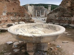 baptismal font, Ephesus, Turkey -- photo by Ana Gobledale