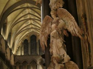 Christmas angels in Salisbury Cathedral, UK -- photo by Ana Gobledale