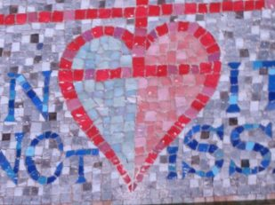 Mottisfont modern mosaic heart, Hampshire UK -- photo by Ana Gobledale