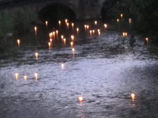 Hiroshima Day candle float for peace, Salisbury UK