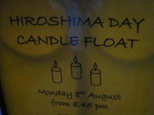 Hiroshima Day candle float poster, Salisbury UK
