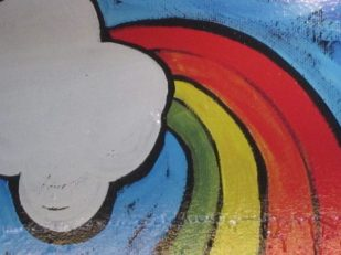 Cabin art, Bellingham, Washington USA, rainbow
