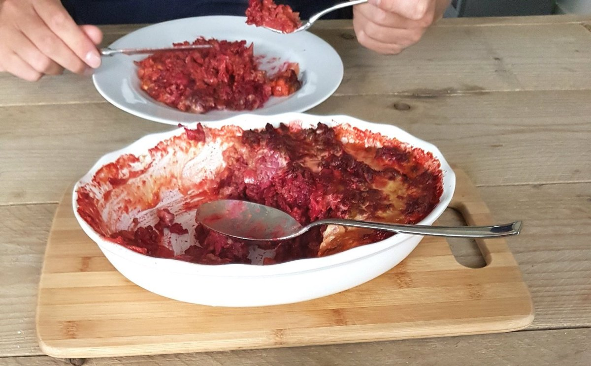 Red Hot Stew; pittige ovenschotel met rode biet