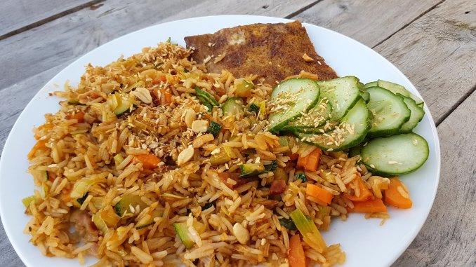 Nasi Goreng met buikspek en courgette