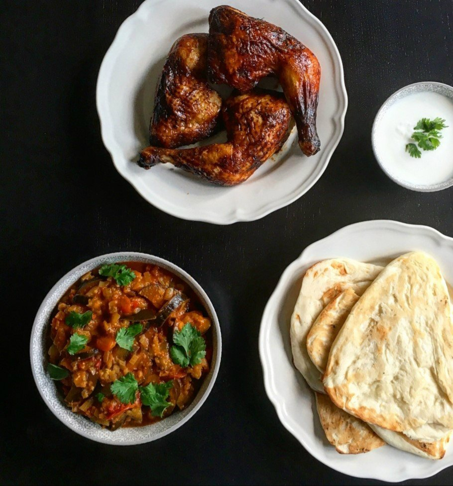 Tamarinde kip met auberginecurry uit Made in India