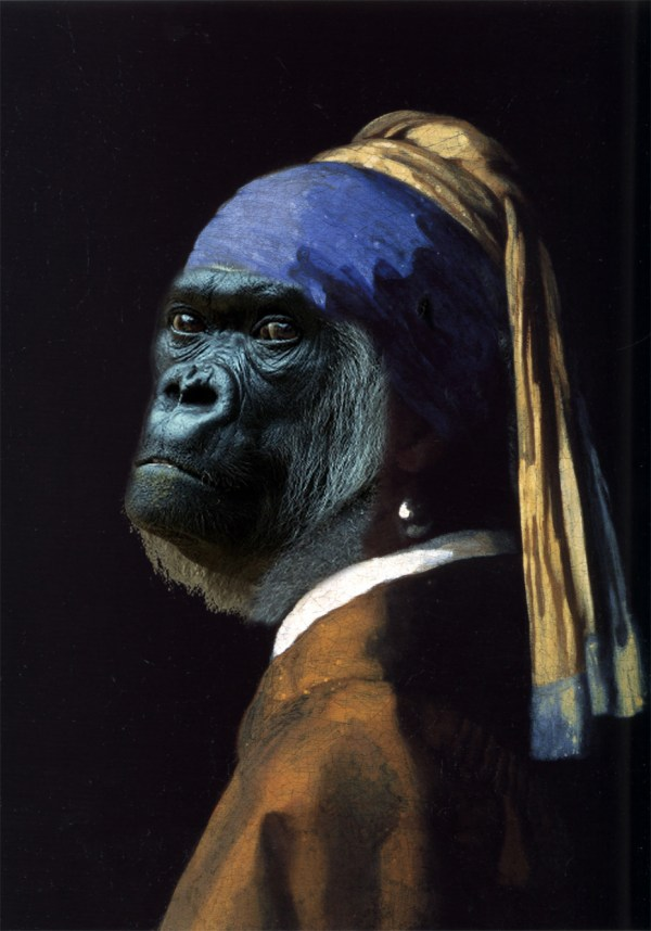 Monkey Lisa And Gorilla With Pearl Earring