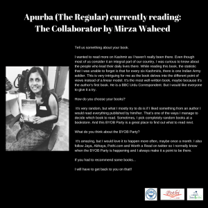 Reader Interview of Apurba (The Regular) @ BYOB Party in March 2018