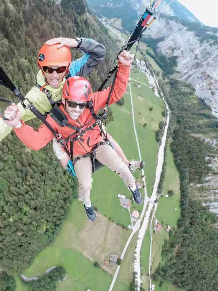 Man doing Airtime paragliding over the Lauterbrunnen Valley