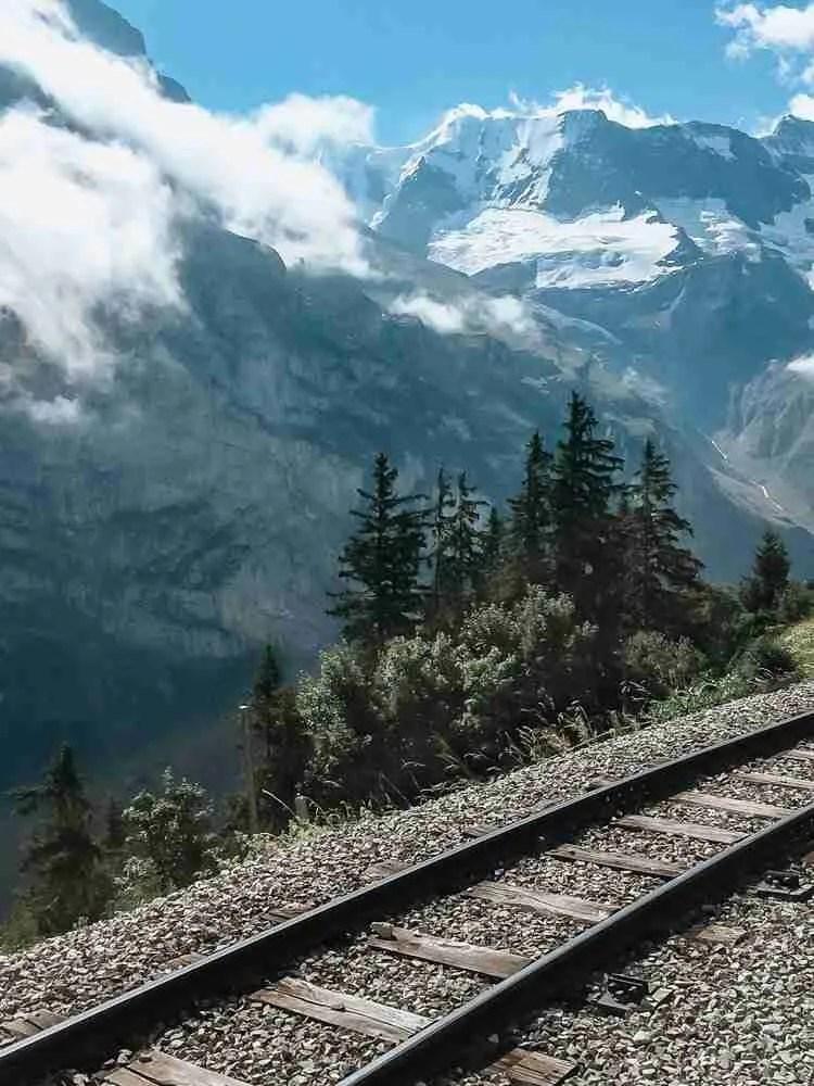 Train tracks in the Lauterbrunnen Valley