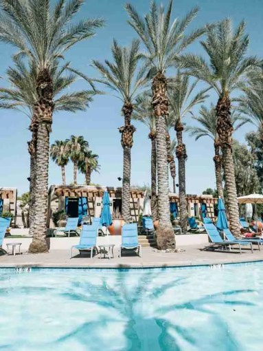 Pool and Cabanas at Hyatt hotel in Palm Springs area