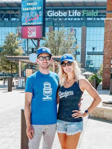 Dodger fans in front of Globe Life Field