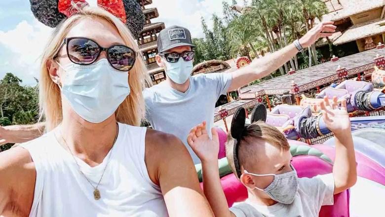 Family flying on magic carpet Disneyland ride