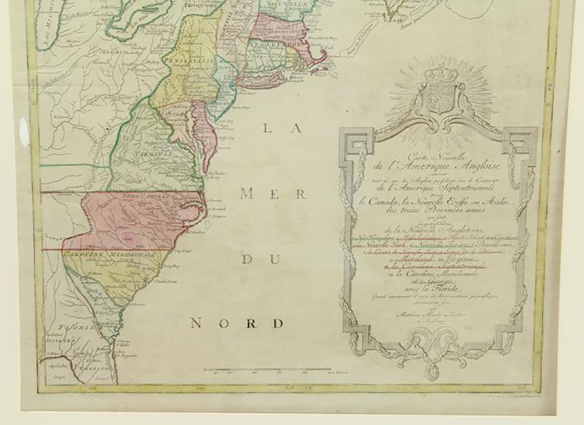Historic And Important Antique Map Of Colonial America At