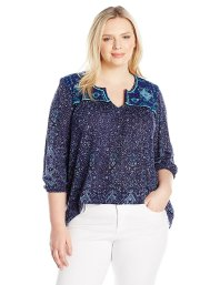 Plus Size Embroidered Slit Neck Top